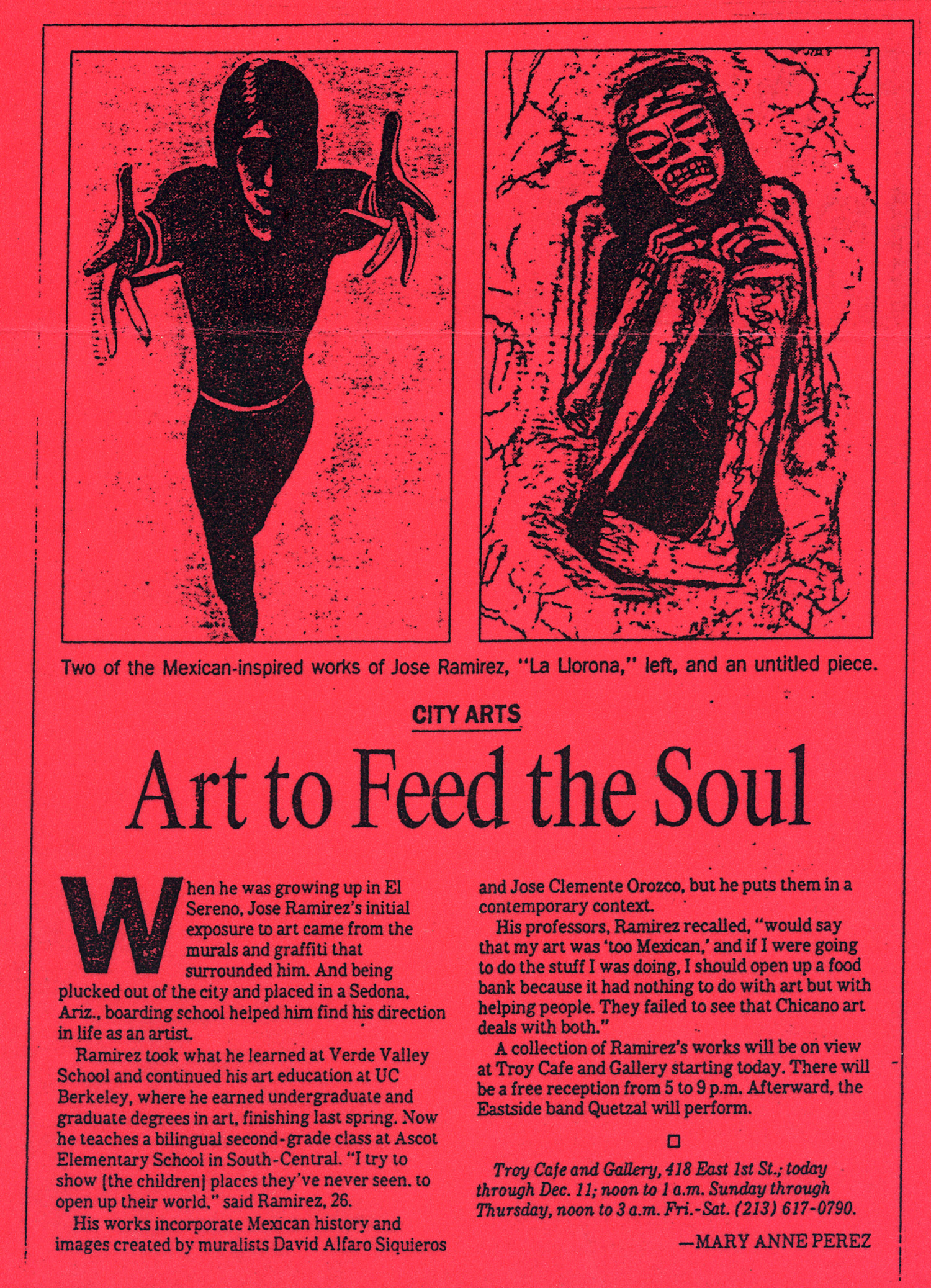 Article from LA Times about a solo show at Troy Cafe, 1993.