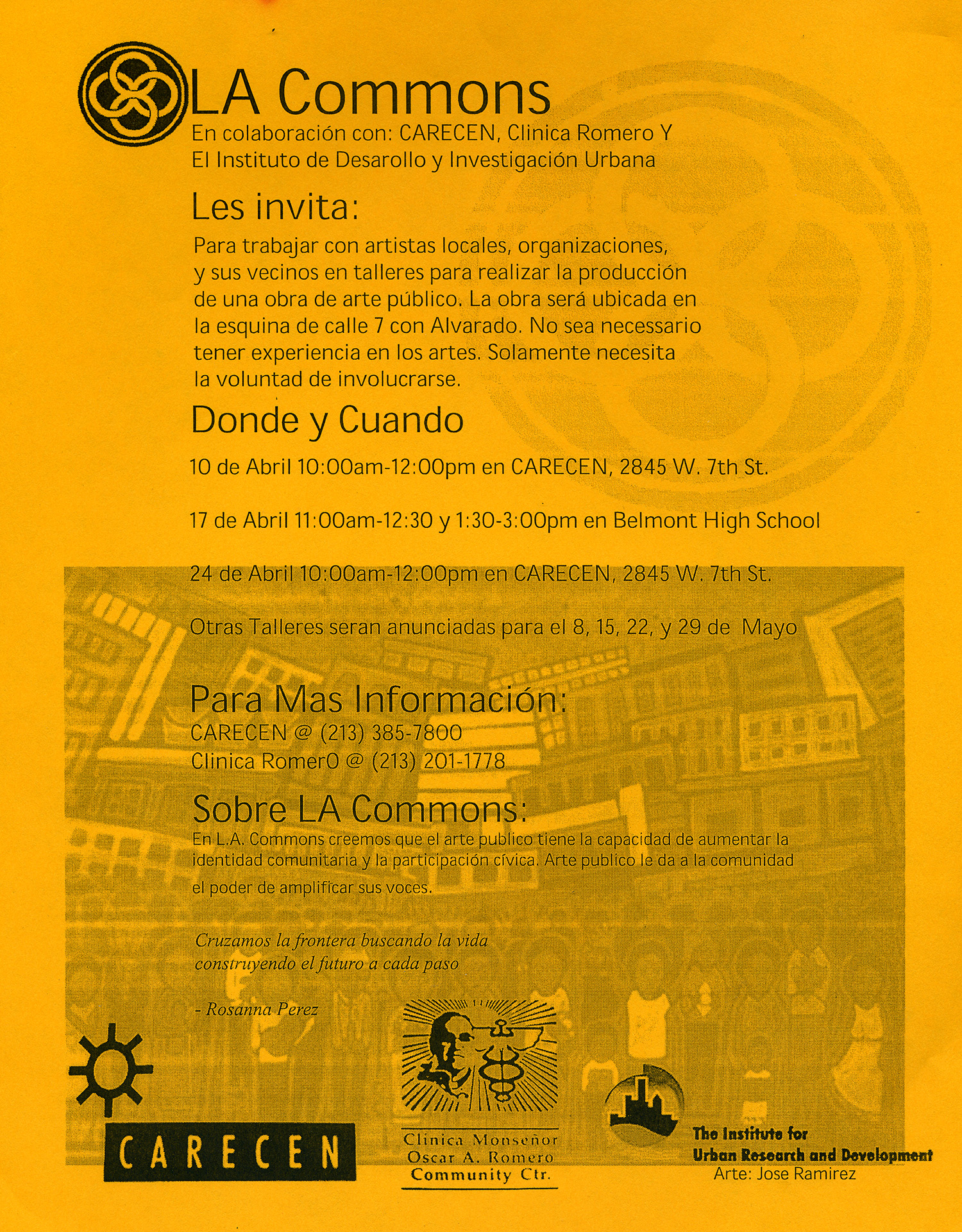 Flyer for LA Commons Tamale Cart Tile and Poetry Project, MacArthur Park, Pico Union, Los Angeles, 2002.