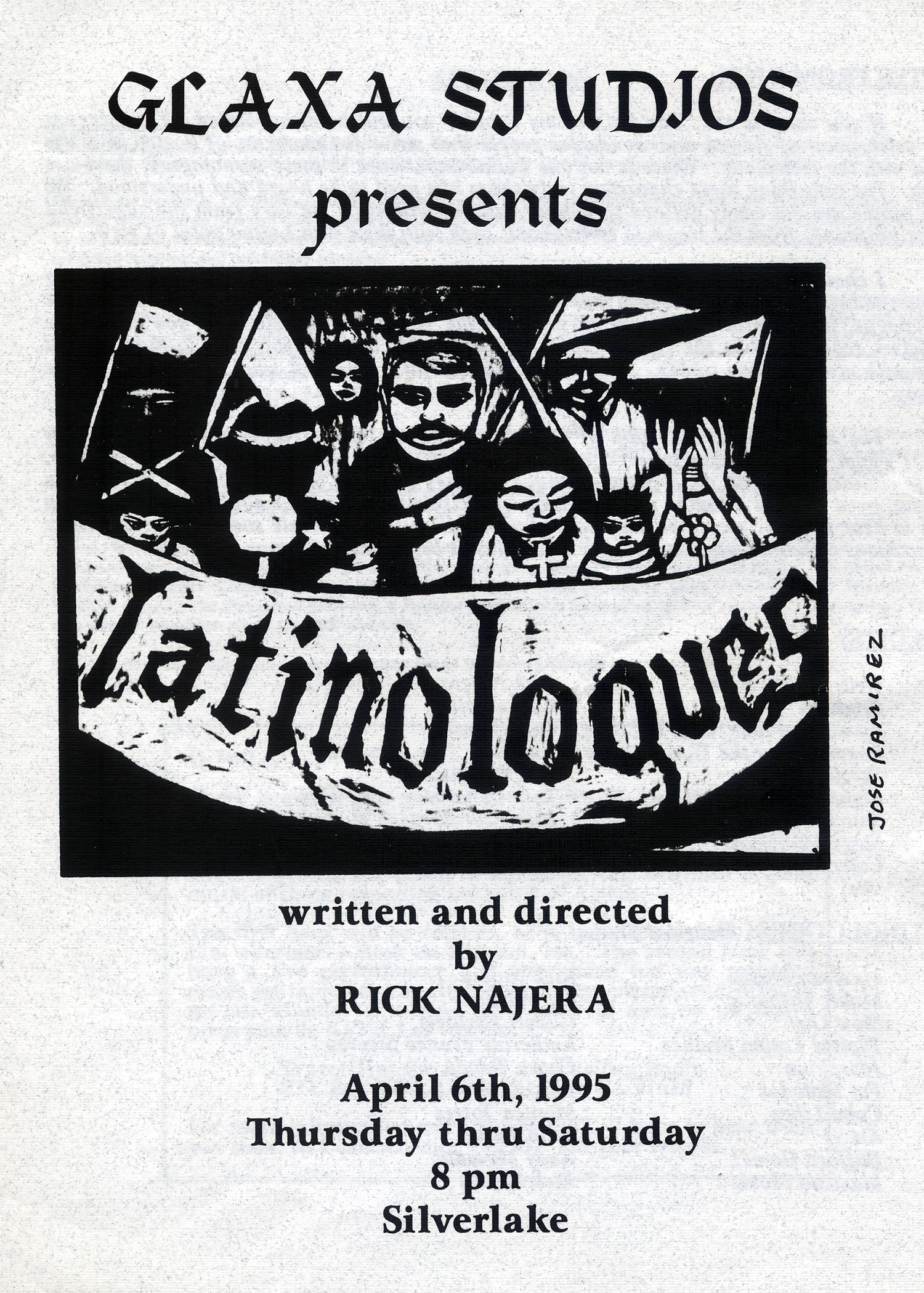 Artwork for first production of Latinologues, Glaxa Studios, Los Angeles, 1995.