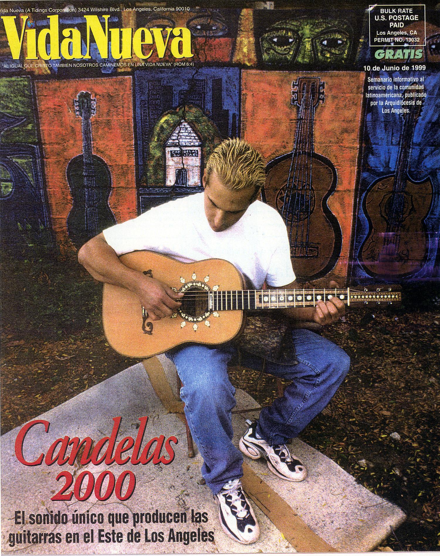 Las Guitarras, mural, Candela's Guitars, Vida Nueva Magazine, 2000.