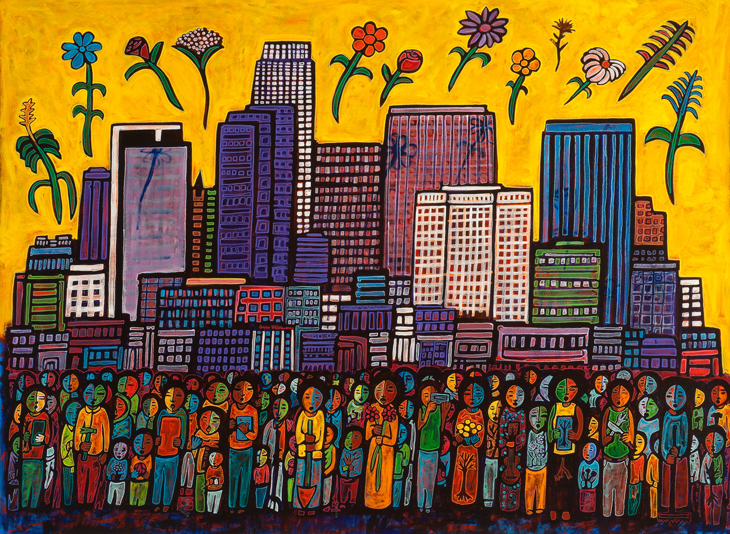 flowers and people, 2015, 94x72