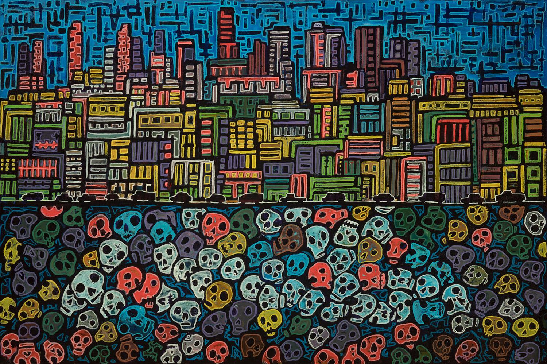 stolen land, 2018, mixed media on canvas, 36x24