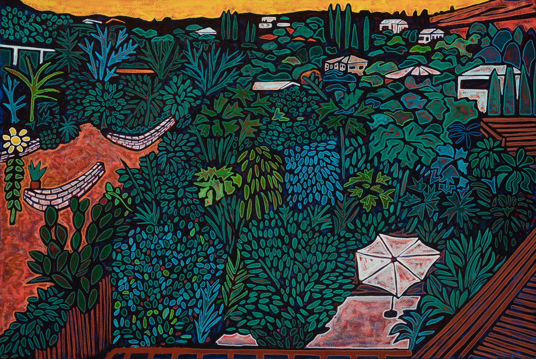 city terrace garden, 2018, mixed media on canvas, 36x24