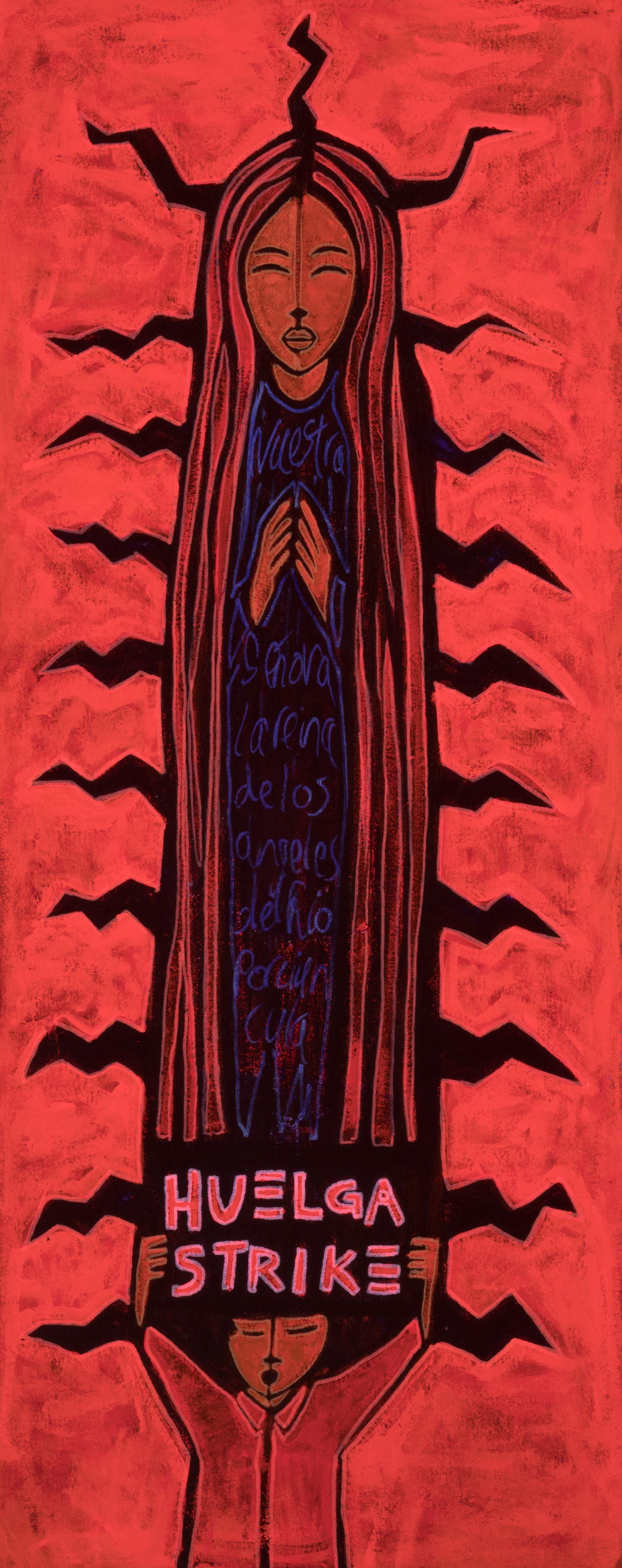 huelga lupe, 2019, mixed media on canvas, 12x30