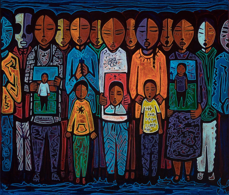 vigil, 2019, mixed media on canvas, 28x24