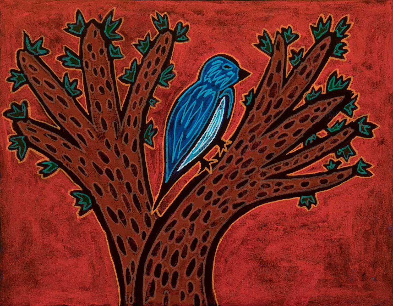 """bird on tree, 2019, mixed media on canvas, 14x11"""""""