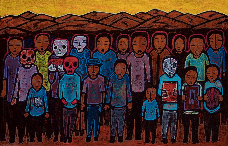 """caminando, 2019, mixed media on canvas, 26x16"""""""