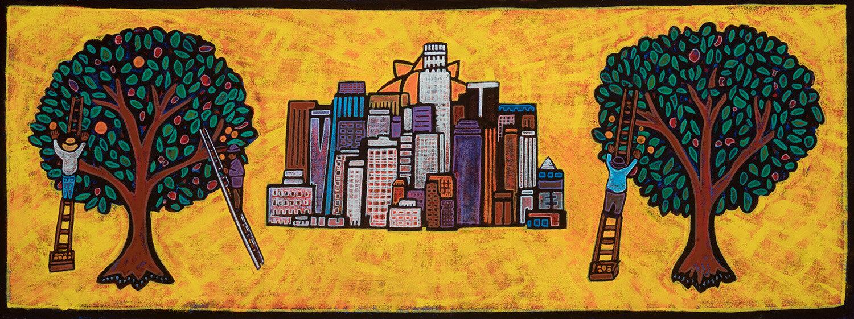 citrus la, 2019, mixed media on canvas, 40x15