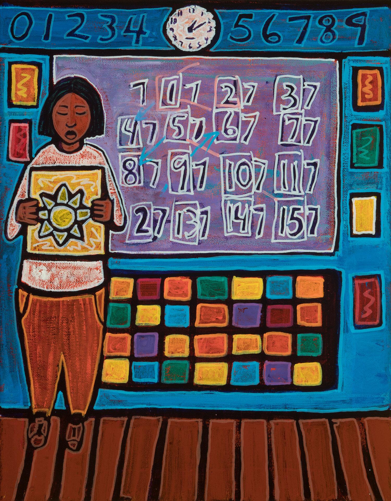 maestra, 2019, mixed media on canvas, 11x14