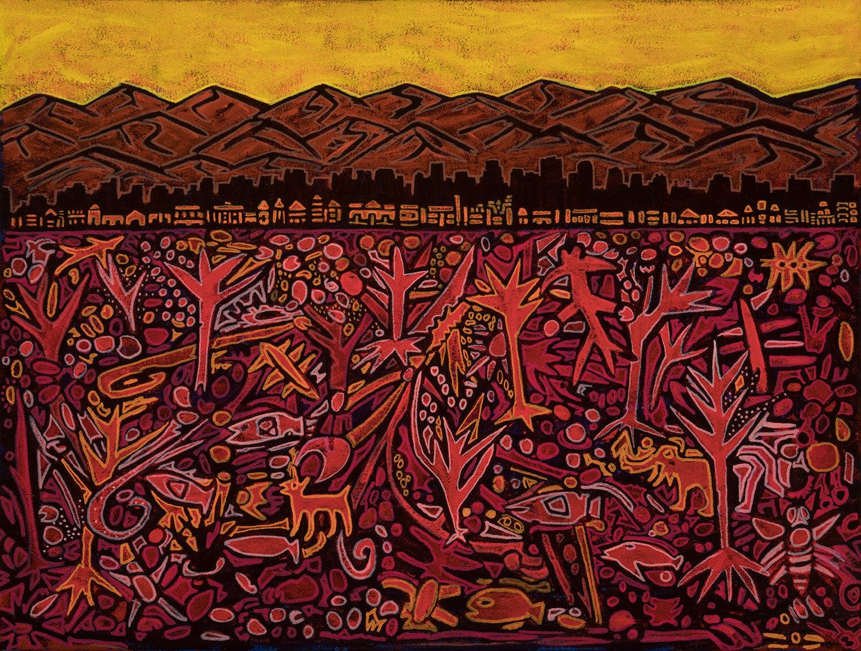 "red desert la, 2019, mixed media on canvas, 20x18"""