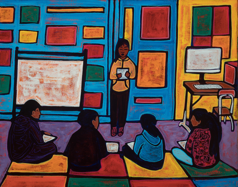 "small group rotation, 2019, mixed media on canvas, 20x16"""