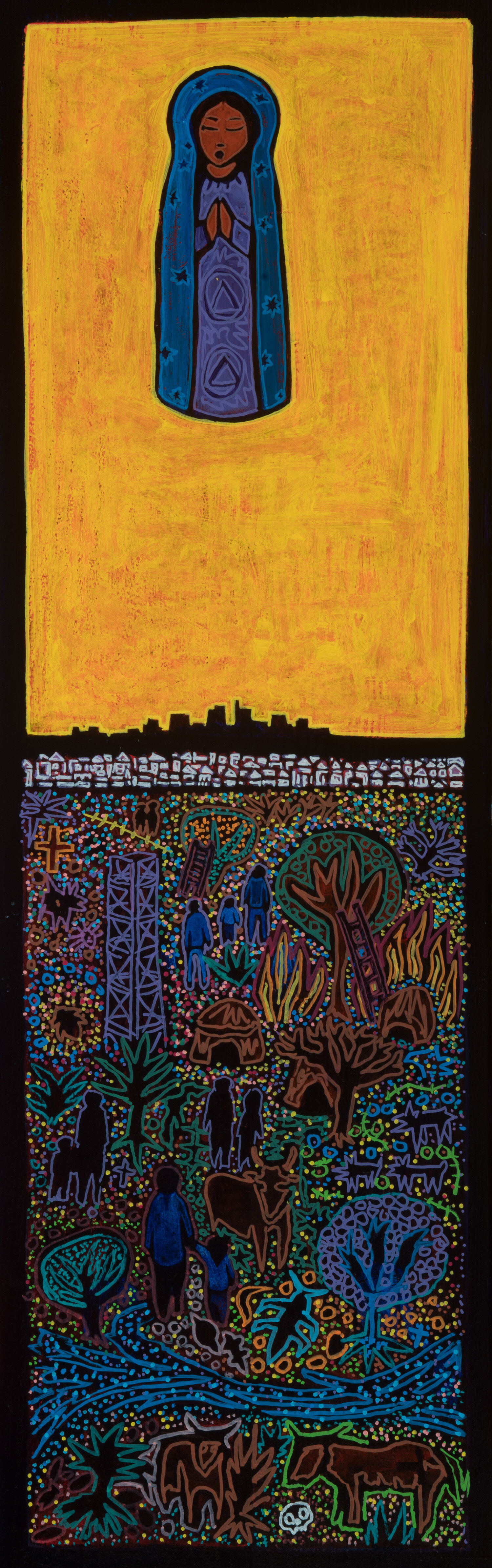 vertical crosssection of la, 2019, mixed media on wood, 11x36