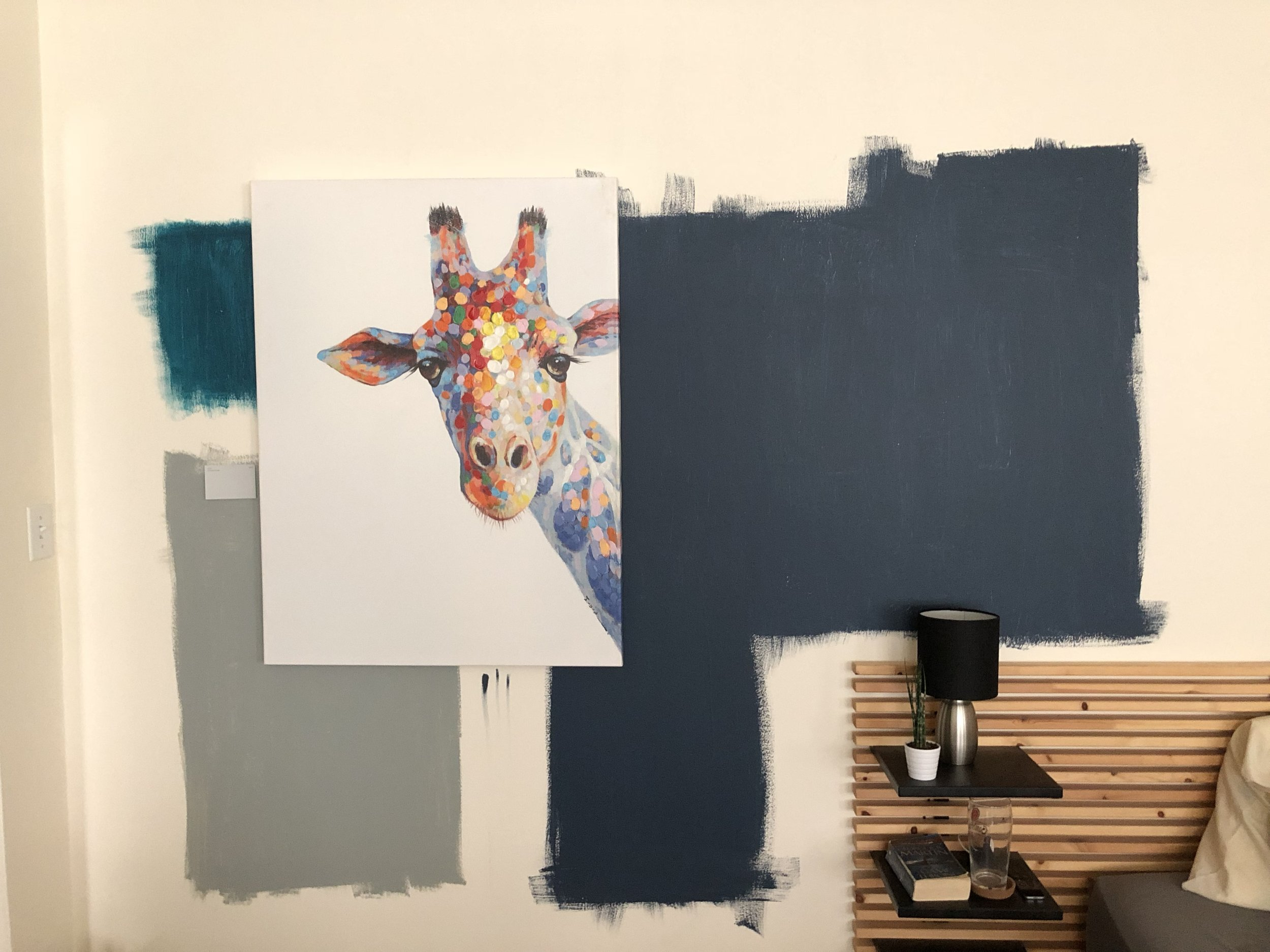 A client put multiple samples on the wall to make a more informed decision about what his final color choice would be.