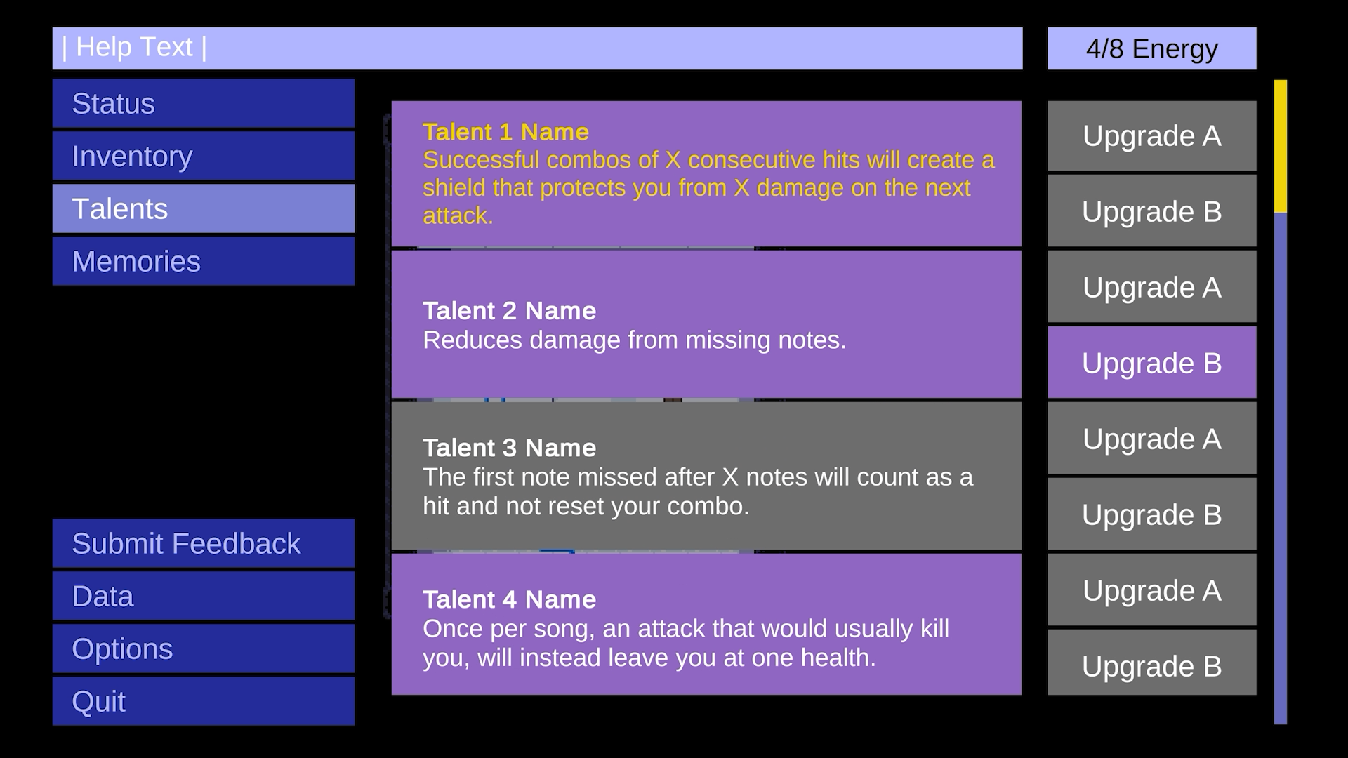 Nocturne (TBA) The old talent menu from an earlier build of the game.