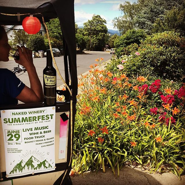 Summer solstice is just a day away. Let the celebrations begin! Naked Winery is always ready to party. They've got their annual Summerfest coming up a week from Saturday, and I'll be their exclusive, complimentary chauffeur from 6-9 pm. Not only those favors, but gratis onboard tastings of their Outdoor Vino line with each ride throughout the summer! And if you're really serious (and sweet) I've got free flight cards to share with you. All hail the mighty grape, and the star that powers its production! @nakedwinery #nakedwineryhoodriver . . . . #nakedwinery #outdoorvino #hoodriver #hoodriveroregon #columbiariver #columbiarivergorge #traveloregon #pedicab #pedicablife #pedicabs #pedicabdriver #pedicabnation #hoodrivertaxi #pedicab4life #pedicabvibes #pedicabride #greenliving #ssupportlocalbusiness #gorgeowned #uberalternative #localbusiness #peditaxi #peddleassit #solarpower #visithoodriver #hoodgorge #pnwlife #pnwonderland #columbiagorgous