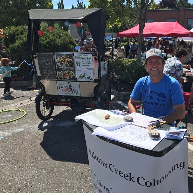 Farmers market ripped it with wind and tasty produce today. I was tabling there with another of my community hats on: as a member of the Adams Creek Cohousing group. We're building community in town, both literally and figuratively.  We've got a sweet 2.4 acre property right across from Kickstand that about 25 households will occupy together in a couple years. Check out the concept (cohousing.org) and our project (AdamsCreekCohousing.com). It's all about taking action for a better future. Join us!! We're seeking new members, especially families with kids.  @adamscreekcohousing #adamscreekcohousing . . . . . #cohousing #sharedliving #hoodriver #hoodriveroregon #columbiariver #columbiarivergorge