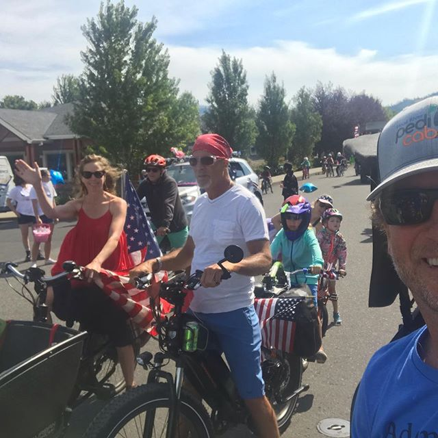 Fourth of July parades are such a rush, especially when your making a statement about independence! In this case, from fossil fuels. I joined the crew from Columbia Gorge Climate Action Network and Streets Alive! to highlight electric car and bike options available to our community. We spun around to tunes of freedom and a mountain of smiles. May you take this day celebrate your strength to break the bonds of what holds you back. What's more freeing than a bike?  See you on the road to liberation! Matty @streetsalivehr #streetsalivehr #fossilfuelfree . . . . . #hoodriver #hoodriveroregon #columbiariver #columbiarivergorge #traveloregon #pedicab #pedicablife #pedicabs #pedicabdriver #hoodrivertaxi #pedicab4life #pedicabvibes #pedicabride #greenliving #ssupportlocalbusiness #gorgeowned #uberalternative #localbusiness #peditaxi #peddleassit #solarpower #visithoodriver #hoodgorge #pnwlife #pnwonderland #columbiagorgous #mthoodterritory #pnwdiscovered #pnwonderland #columbiagorgous #mthoodterritory #pnwdiscovered