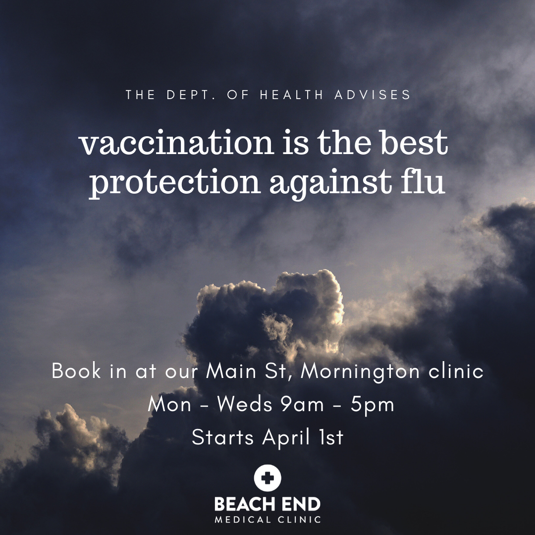 Get your flu vaccine for 2019 in our main street, mornington doctors clinic
