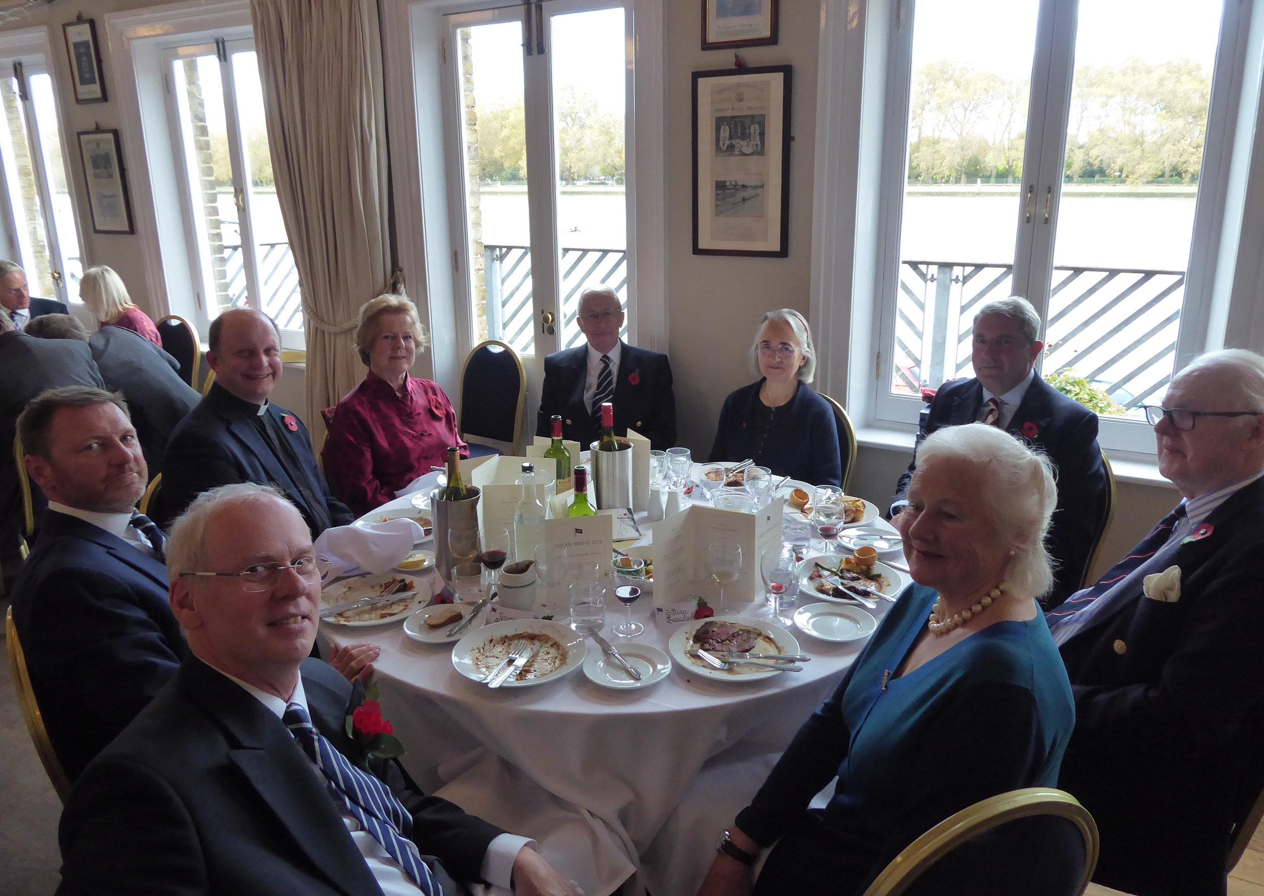 The top table at lunch, (from L) - Jeremy Hudson (Hon Sec); Ben Helm (V-P); the Revd John Whittaker; Mrs Susie Adams-Cairns; Mike Baldwin (President); Mrs Hilary Hudson; Ruaraidh Adams-Cairns; Peter Beauclerk-Dewar and Gillian Beauclerk (grandchildren of one of the 50 fallen, J E Dewar).