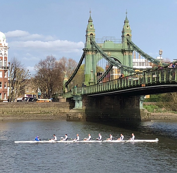 Passing under Hammersmith Bridge.