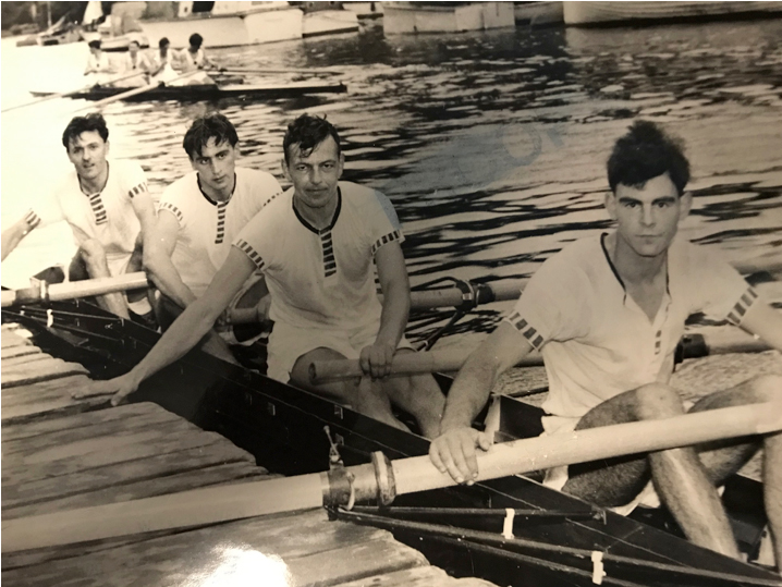 A London four with Dennis Ashton at bow; Peter Barnes at 2; Kees Vlasman (Dennis' Dutch Vice-Captain) at 3; and C M Davis, who went on to be an Oxford blue 1960-62, at stroke.