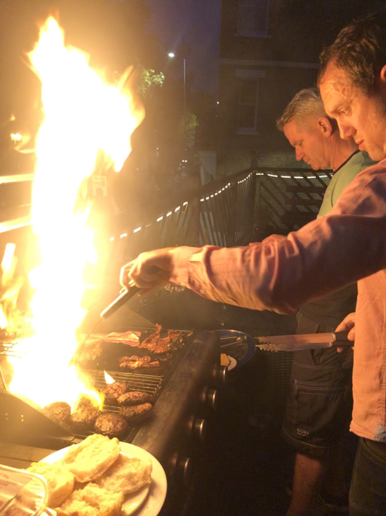 Chefs on the BBQ: Richard 'Goof' Gilfillan and Giles 'Tyne' Sergeant.
