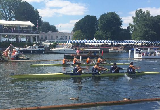 One of the toughest match races of the regatta, the LRC 4- show fortitude under pressure against Whanganui Rowing Club, New Zealand