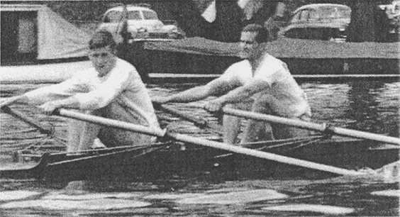 John Marsden sculling down to the start at Henley Royal Regatta with Tony Fox in 1954.