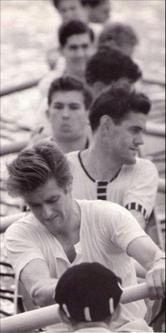The 1957 1st VIII with John Russell in his familiar and fearsome role at stroke. At 7 is Johnny Northridge, 6 is Paul Mizen and Graham Tardif is at 4. The cox is Michael Howard-Johnston.