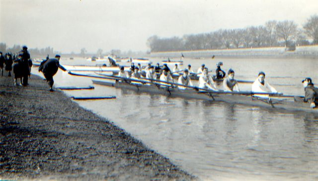 LRC 's HORR 1948 2nd VIII returns to the stools after finishing the HORR in 1948. Morrison is at 6. 'Stools' were the wooden platforms from which LRC and other Putney club crews used to embark and disembark in the days when clubs had boatmen/watermen. They went out of use some time in the 1970s.