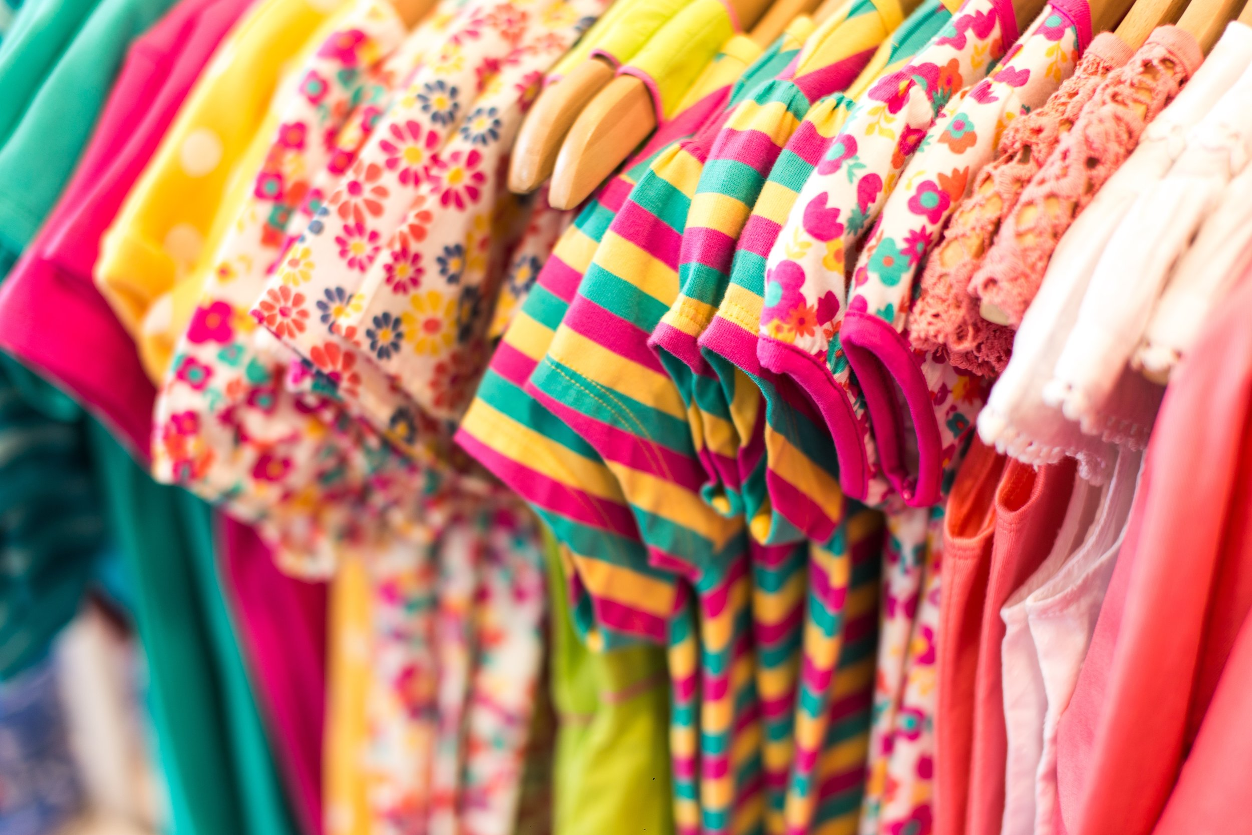 Clothing rail of colourful clothes