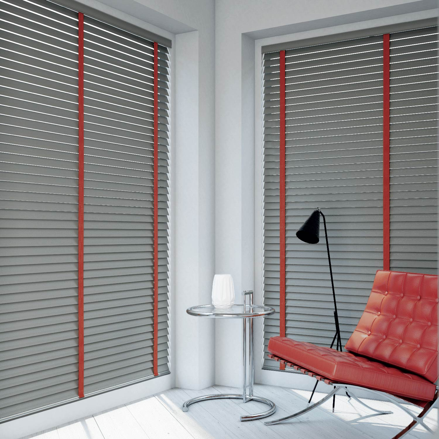 Wood Venetian - Venetian Blinds are very versatile, with a myriad of colours, finishes and slat widths in the market. Painted finishes enable a blind to be produced in any colour, while technological developments allow for unique slat finishes such as distressed, high gloss or veneer finish, allowing you to stamp your taste and personality on your home.