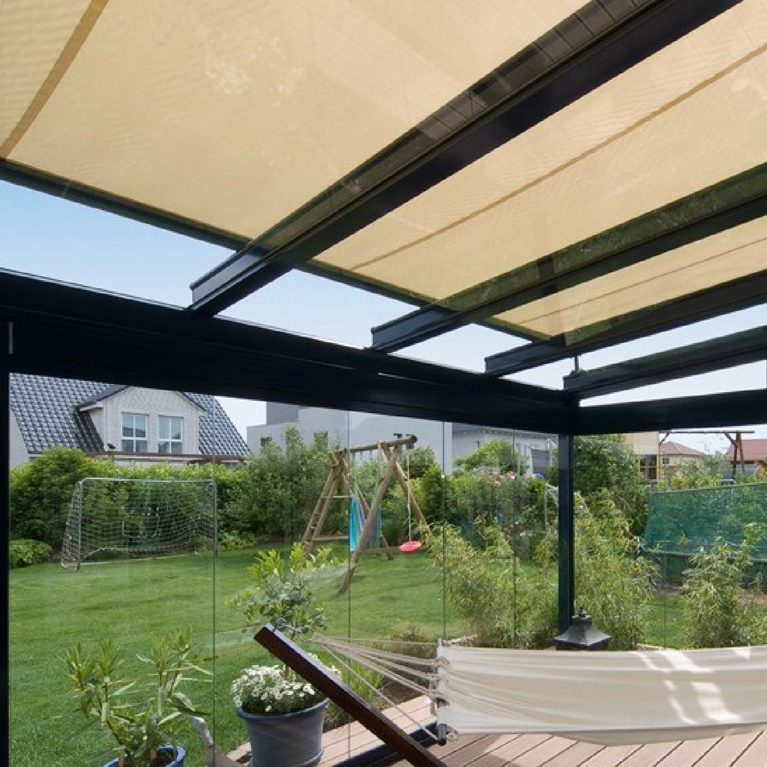 Conservatory Roof Awnings - The over roof conservatory awning provides a pleasantly shaded place on your patio or in your conservatory where you will enjoy relaxing even on extremely sunny days. The over roof conservatory awning can be combined with almost any untrussed roof virtually regardless of the structural conditions and is therefore a real enrichment for your haven of well-being.The over roof conservatory awning from weinor provides reliable sun  and glare protection – the space under your conservatory roof heats up far less as the sun doesn't directly hit the roof.Fits on almost any patio or conservatory roofRegardless of whether it's a weinor Glasoase® or warm conservatory, wooden patio roof or one with roof overhang – the over roof conservatory can be combined with almost any patio or conservatory roof, even later on as a retro fit.Impressive designThe slimline profile without any visible fixings highlight the over roof conservatory awning's modern design. It integrates perfectly into the overall look of the house facade as a stylish element.