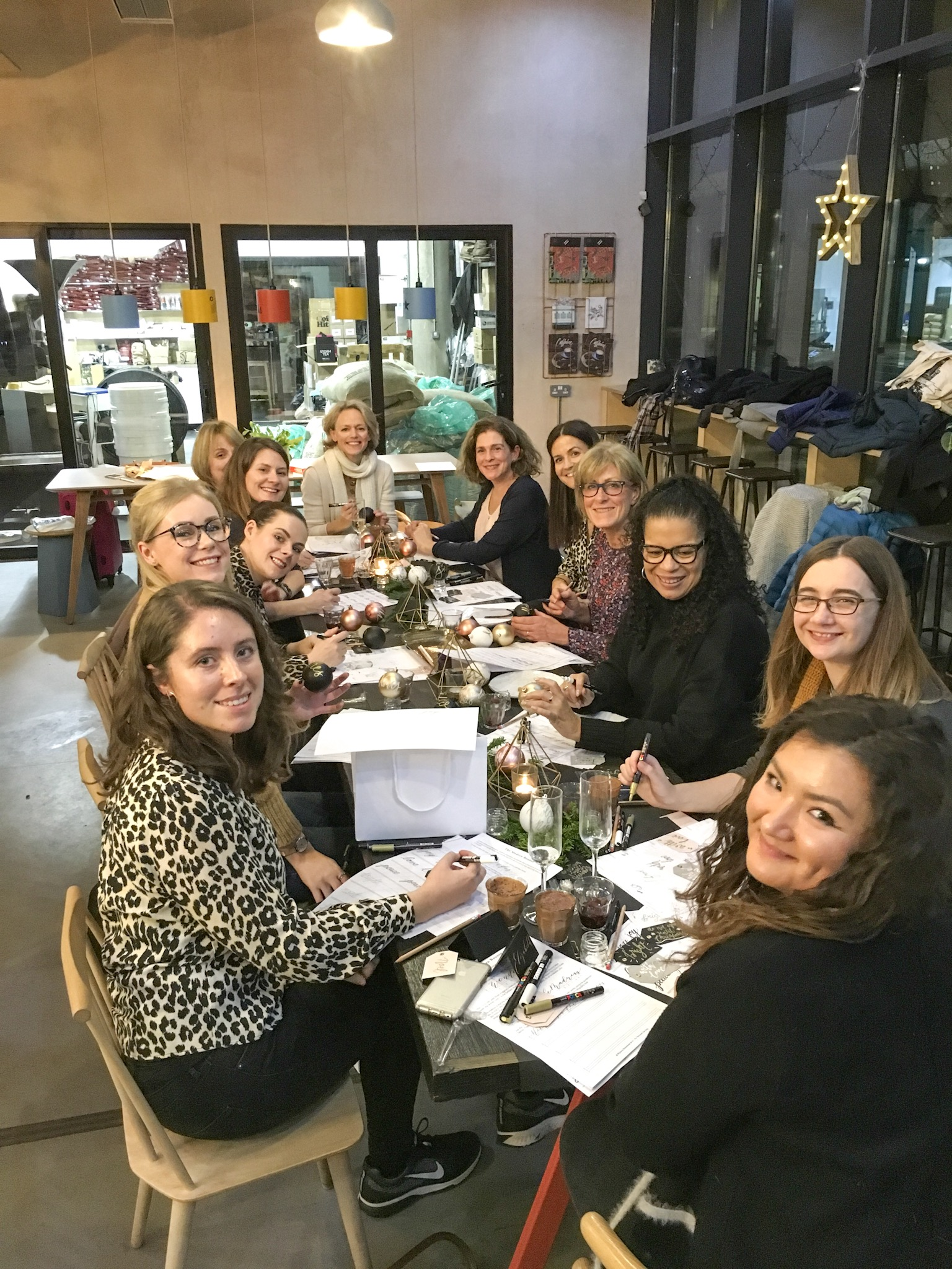 Lovely bunch of women learning hand lettering in Leeds
