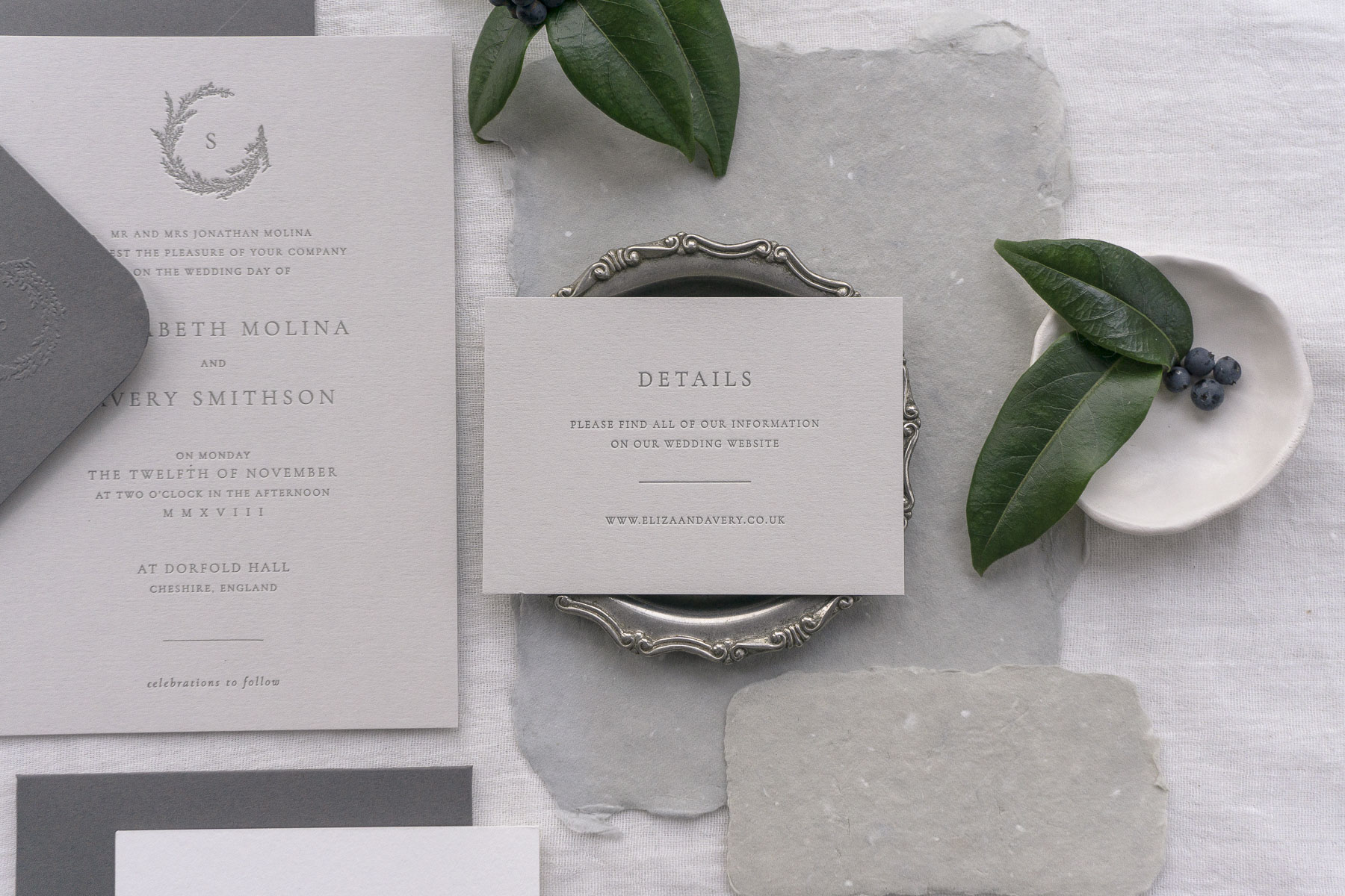 letterpress wedding invitation details card greys monogram leafy simple modern classic