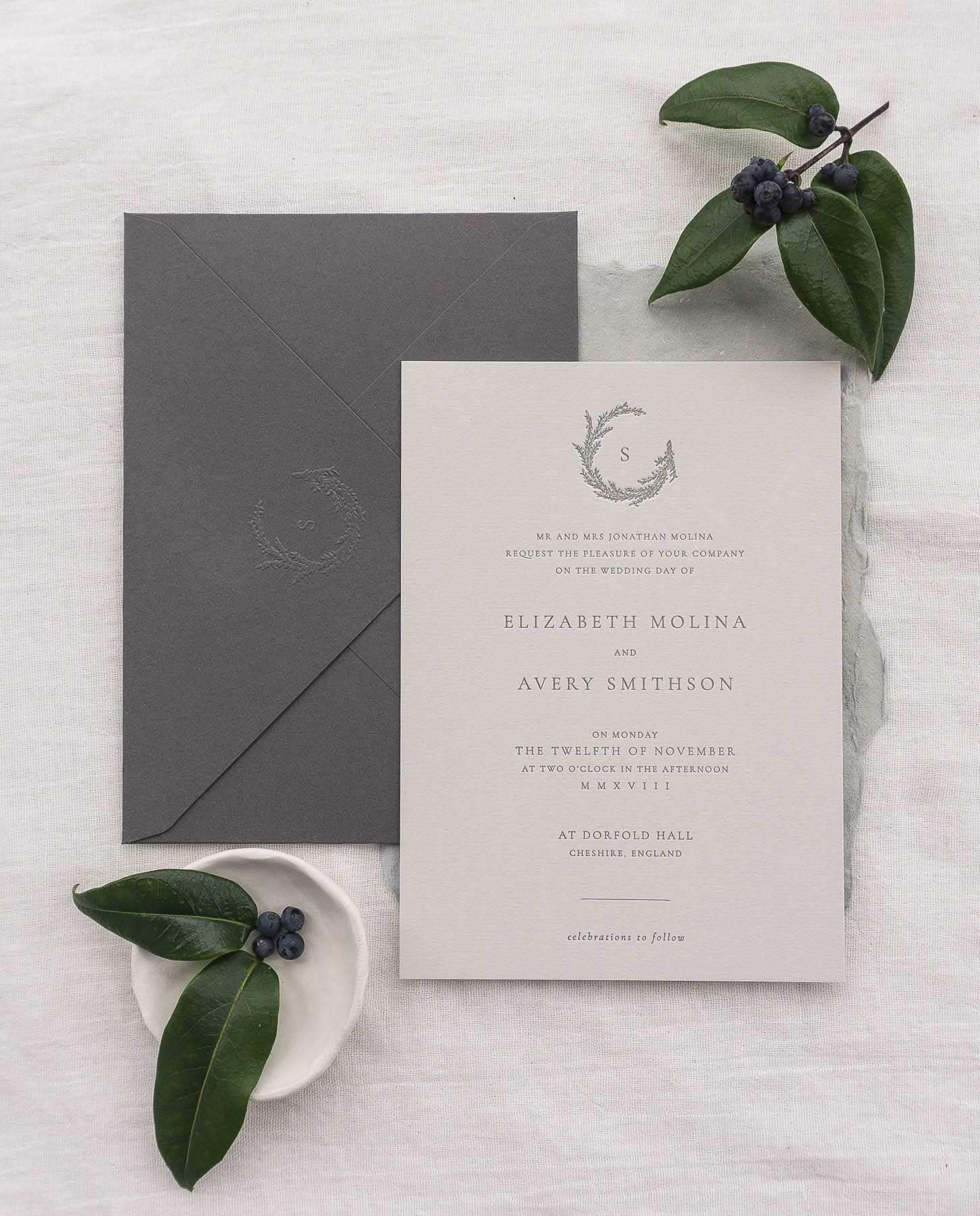 emboss seal monogram wreath letterpress deboss invitation typography simple modern classic