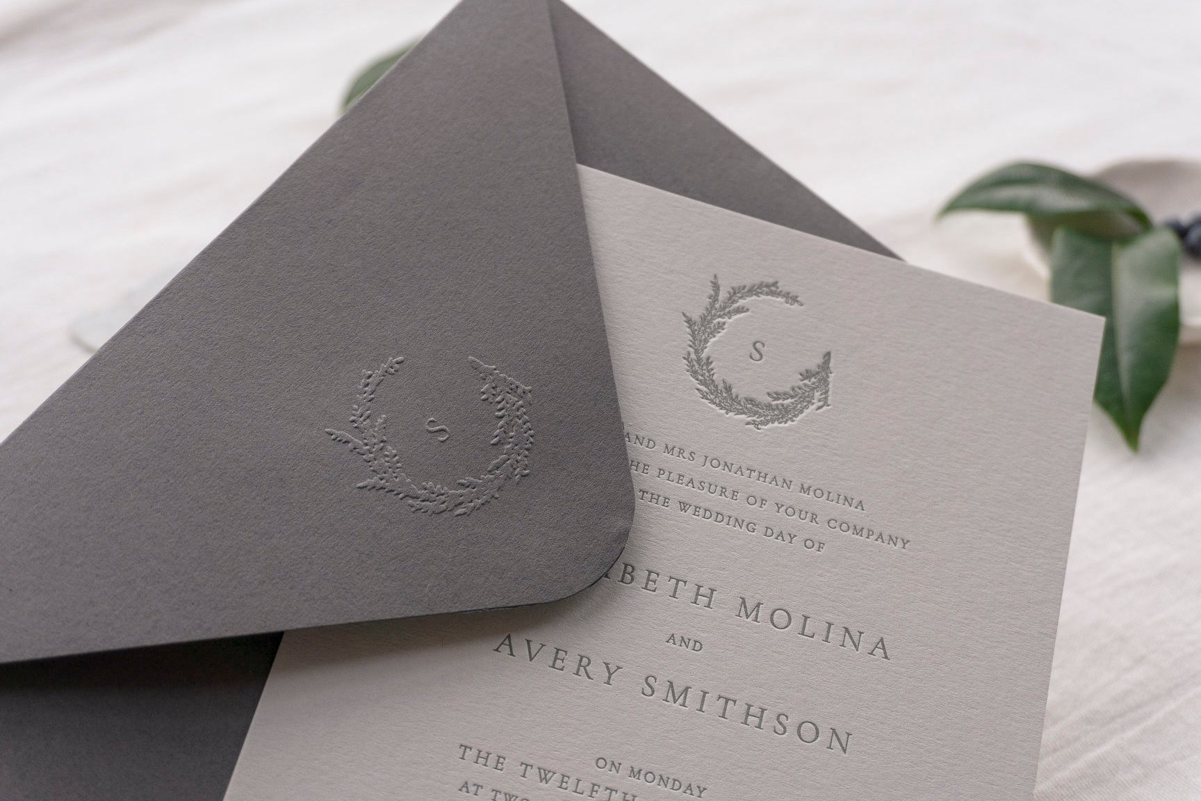 emboss+seal+monogram+envelope+wreath+letterpress+wedding+invitation+uk