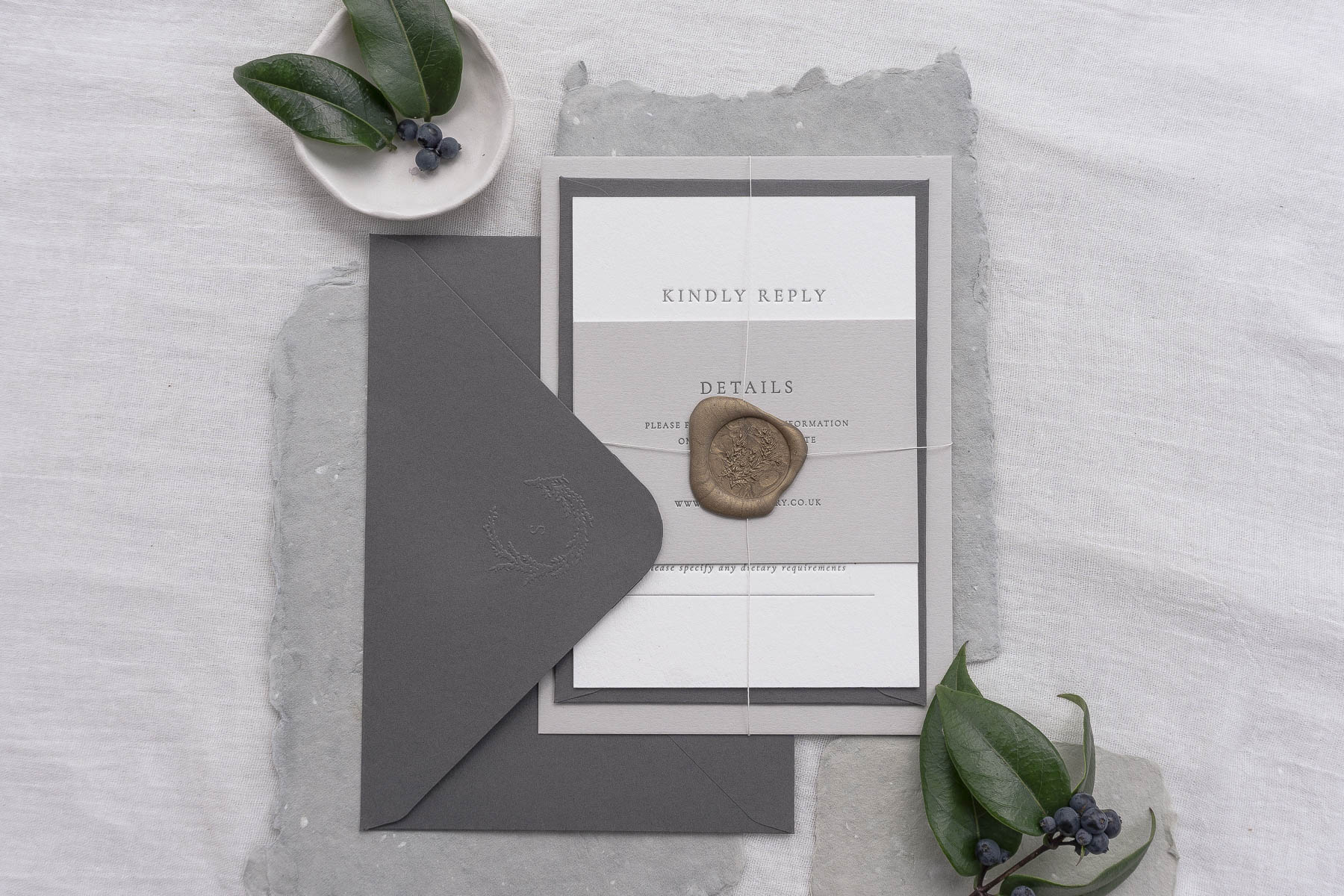 letterpress wedding invitation wax seal wreath monogram emboss deboss simple modern classic grey