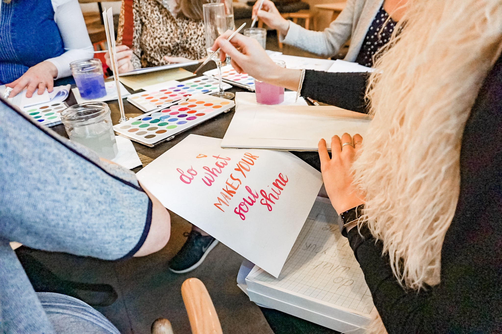 watercolour brush lettering class practice create your own artwork leeds