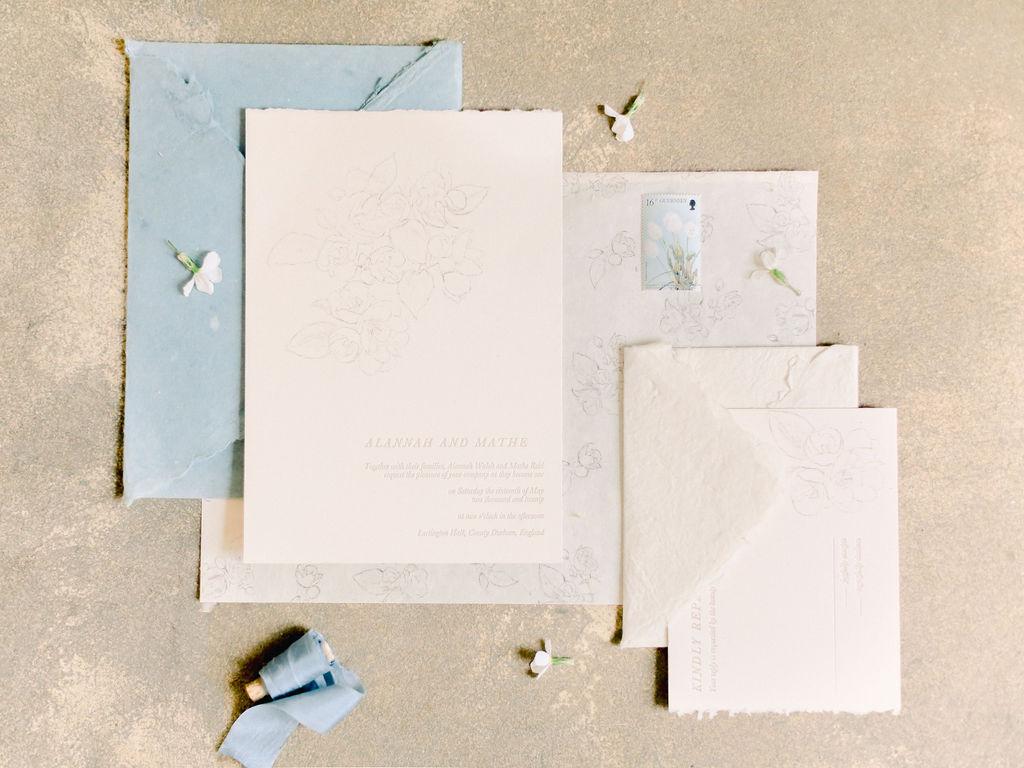 handmade paper charcoal illustrations letterpress wedding invitation french blue