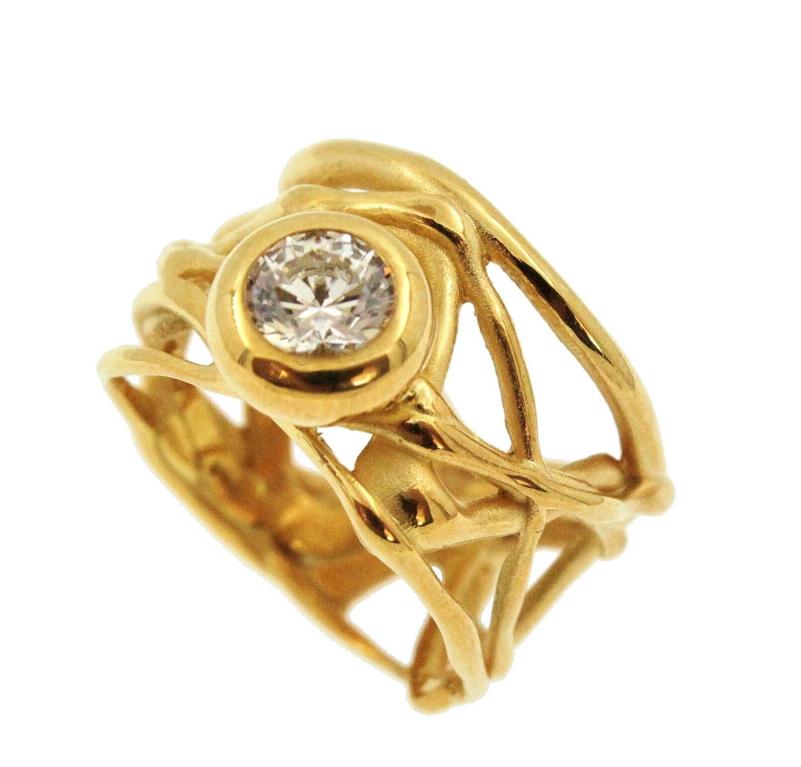 Ring Silber vergoldet Zirkonia reine Handarbeit, gerne fertigen wir das Modell auch mit anderen Steinen an.