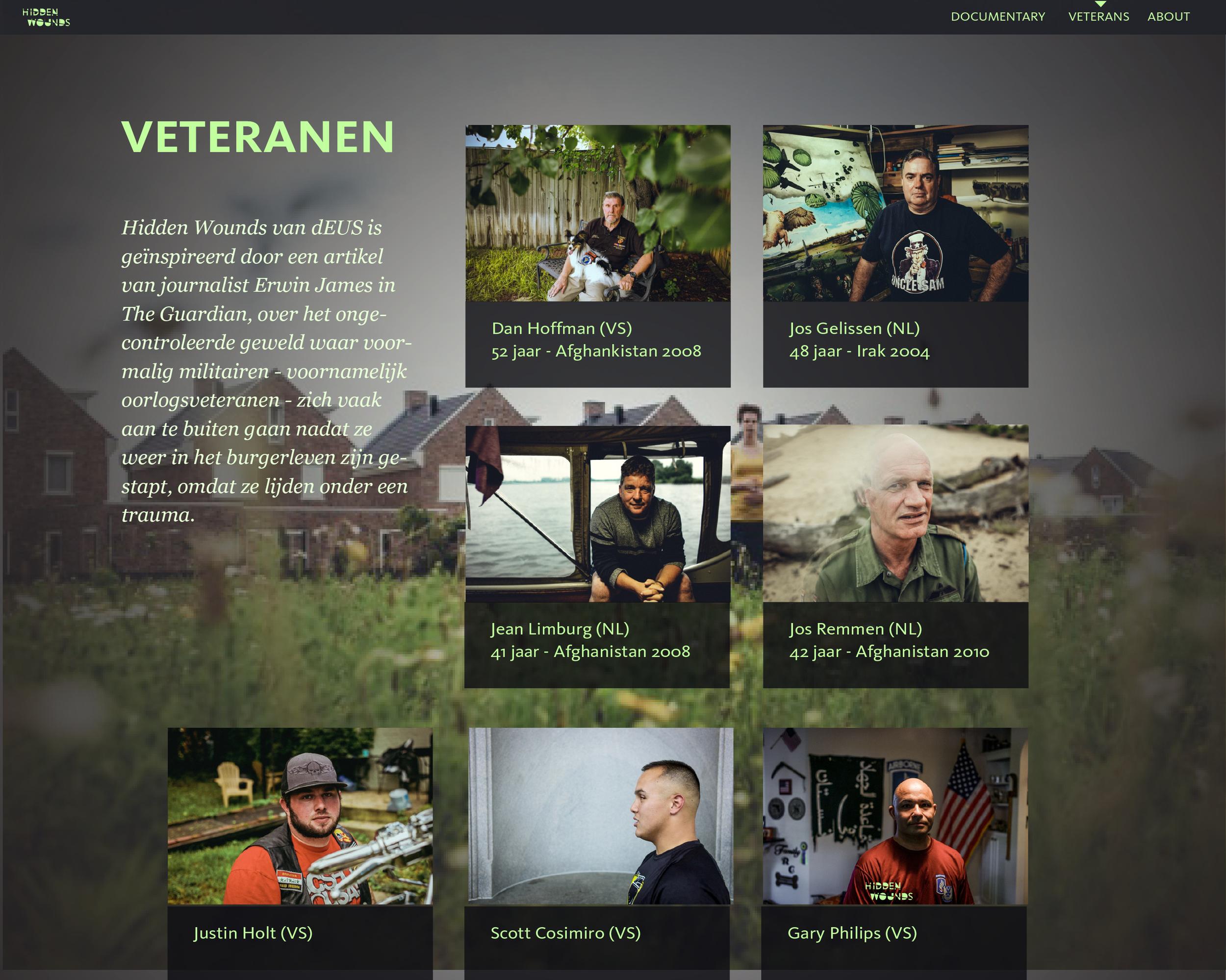 Overzicht veteranen op de website.