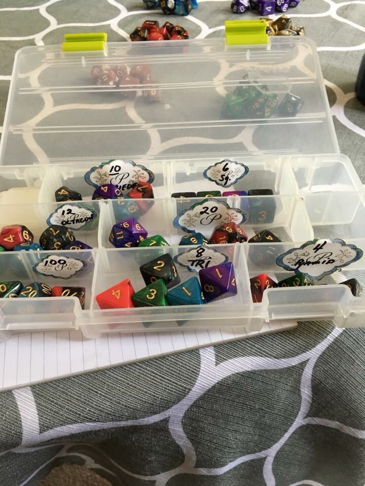 The DnD Grandma's neatly organised dice collection