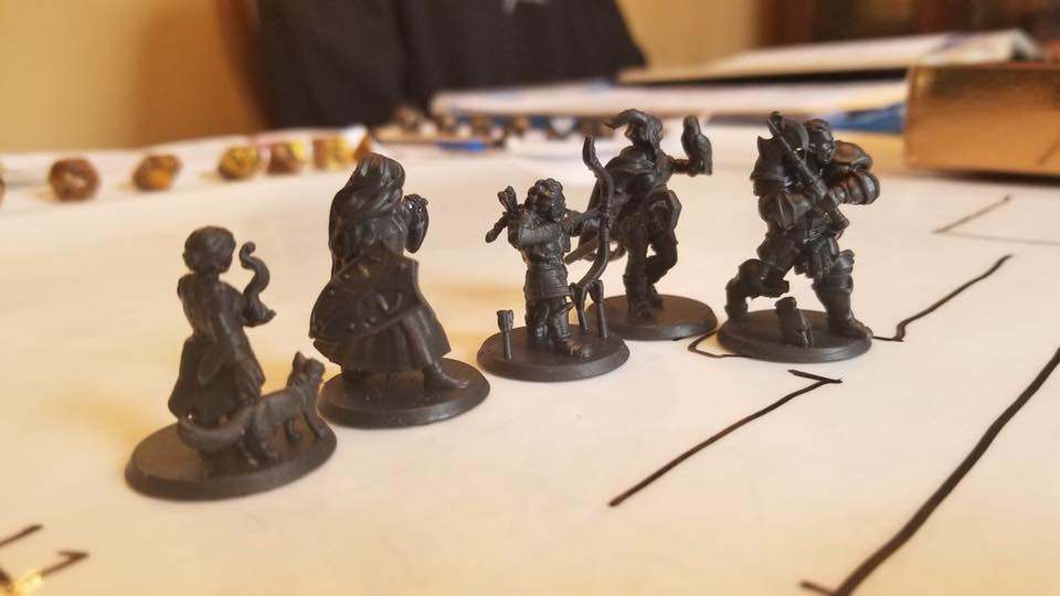 All of the party's miniatures, with Mellie on the far left