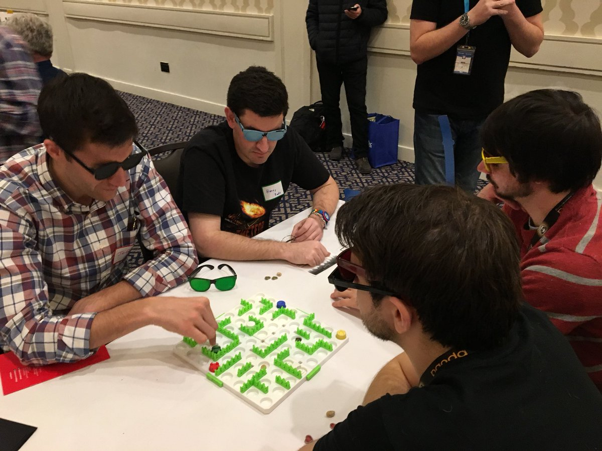 An earlier prototype of  Nyctophobia  being played at UnPub