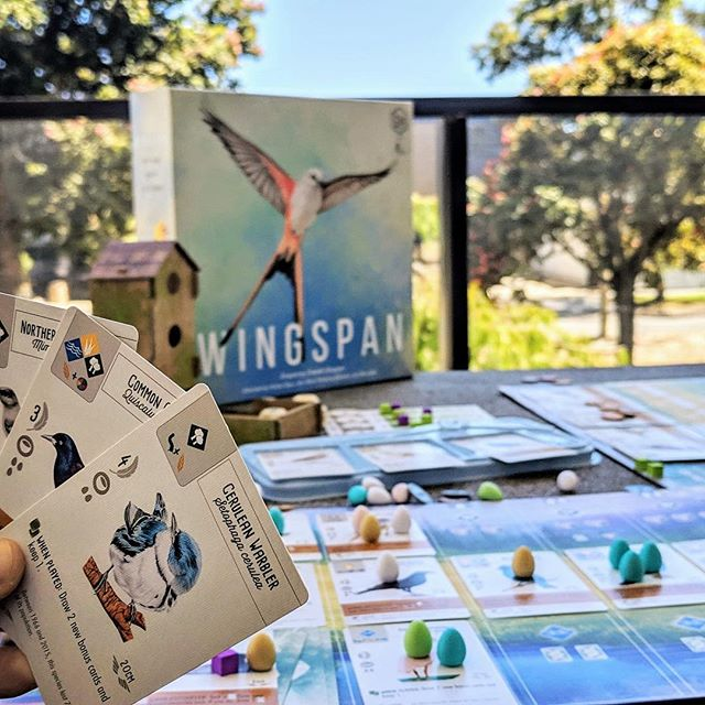 "We just played #Wingspan for the first time and OH MY GOSH! 😍 I can't get over how gorgeous the art is, and the little details like the miniature eggs and the cute ""bird feeder"" for the dice just perfect it! 🦅🦉🦆 The gameplay is beautifully streamlined - choose one of 4 actions to either play a bird from your hand, or gain some resources and activate all the birds in that habitat. The complexity and strategy comes from the card interactions, and the difficult choices you have to make when you realise you're running out of actions! It's so satisfying to watch your engine slowly grow over the course of the game, and then to see your collection of birds at the end. 🦅🦉🦆 I definitely understand the comparison to #TerraformingMars, but in my mind there's no competition. The elegance of Wingspan's gameplay combined it's unique theme and incredible appearance means I can't wait to get it back to the table. Another hit by @jameystegmaier and first time designer Elizabeth Hargrave!"