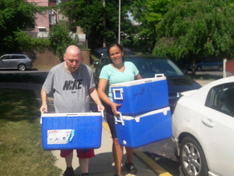 "Ron Trout and Lucy Aponte  answered the question of ""Why do you like to deliver meals?"" by stating this:   ""We just like helping people out!""  (Ron has been delivering meals to Yorktown Apartments for many years.)"