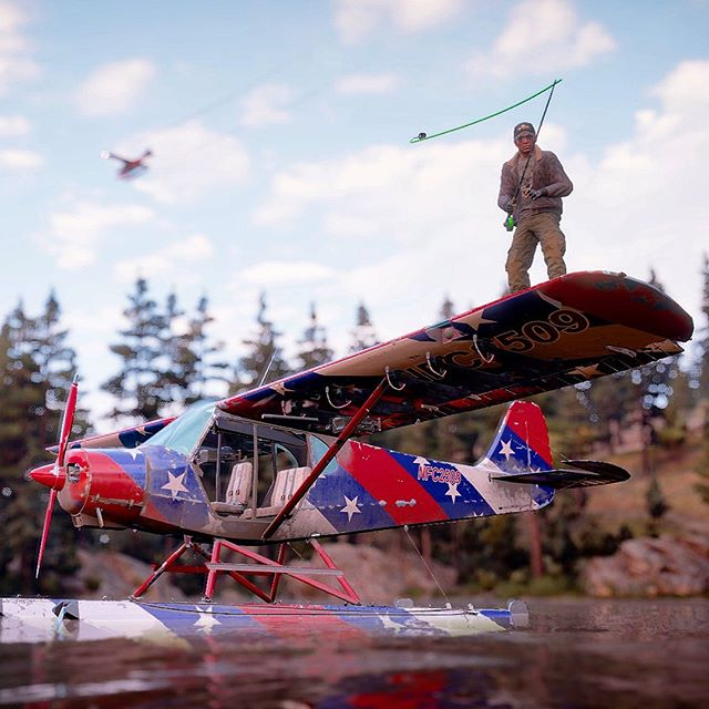 Happy 4th! Thought I'd post something a little different today. Nothing more American than fishing off an American themed plane wing... in a video game lol #farcry5 #murica #4thofjuly #videogamephotography
