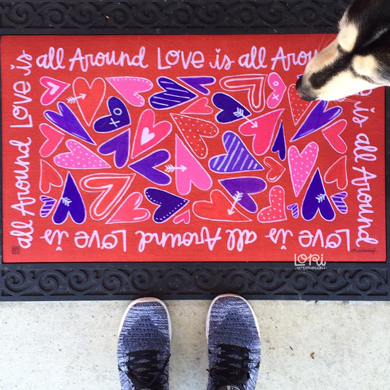 Love is all Around Welcome Mat