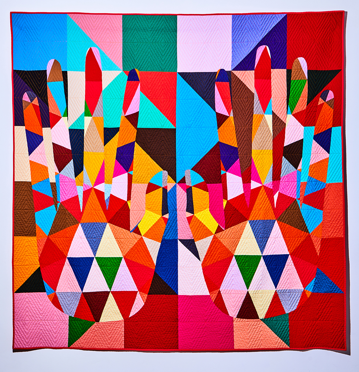 C. Finley + Aaron Sciandra Two Hot Hands Wrapped Around Your Body 86x86 in quilt, cotton, wool 2018